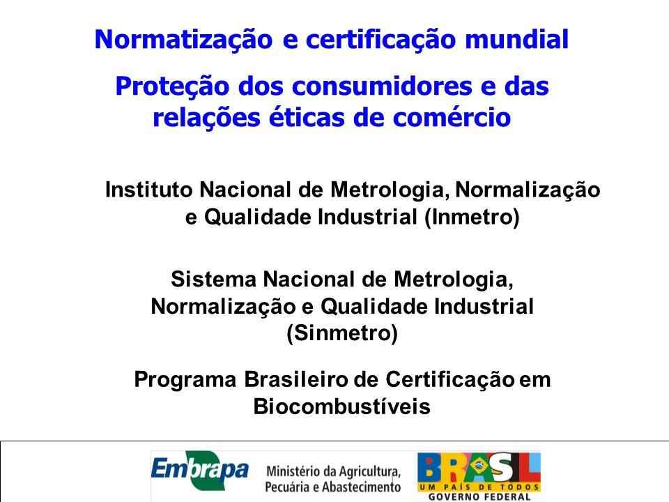 Programa Brasileiro de Certificação em Biocombustíveis Sistema Nacional de Metrologia, Normalização e Qualidade Industrial (Sinmetro) Instituto Nacion