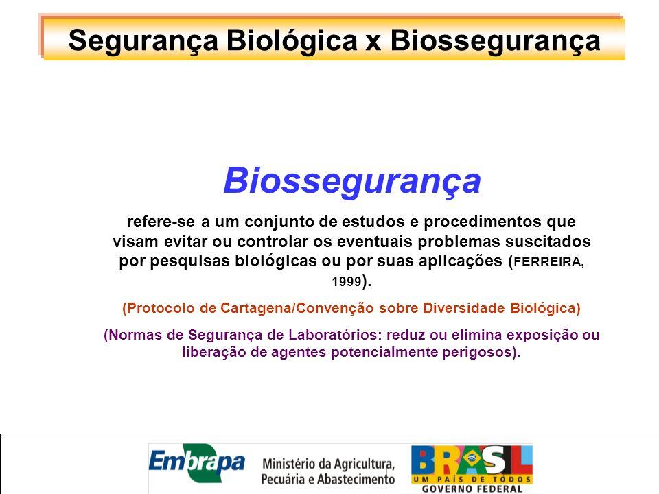 Segurança Biológica x Biossegurança Biossegurança refere-se a um conjunto de estudos e procedimentos que visam evitar ou controlar os eventuais proble