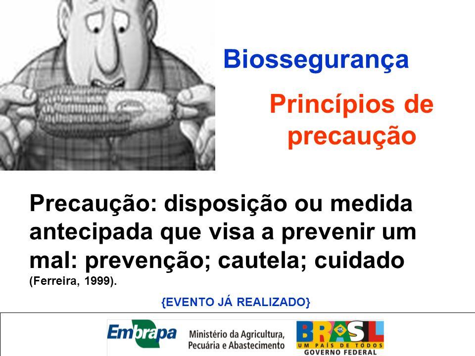 Princípios de precaução Precaução: disposição ou medida antecipada que visa a prevenir um mal: prevenção; cautela; cuidado (Ferreira, 1999). {EVENTO J