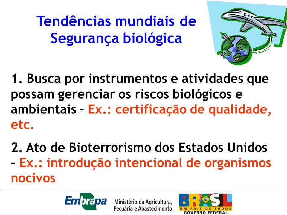 Tendências mundiais de Segurança biológica 1. Busca por instrumentos e atividades que possam gerenciar os riscos biológicos e ambientais – Ex.: certif