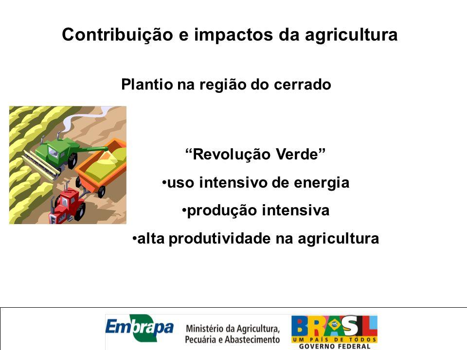 Contribuição e impactos da agricultura Revolução Verde uso intensivo de energia produção intensiva alta produtividade na agricultura Plantio na região