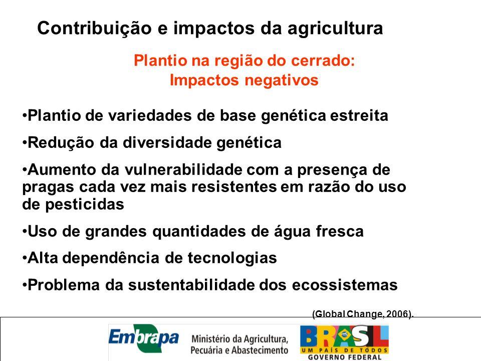 Contribuição e impactos da agricultura Plantio na região do cerrado: Impactos negativos Plantio de variedades de base genética estreita Redução da div