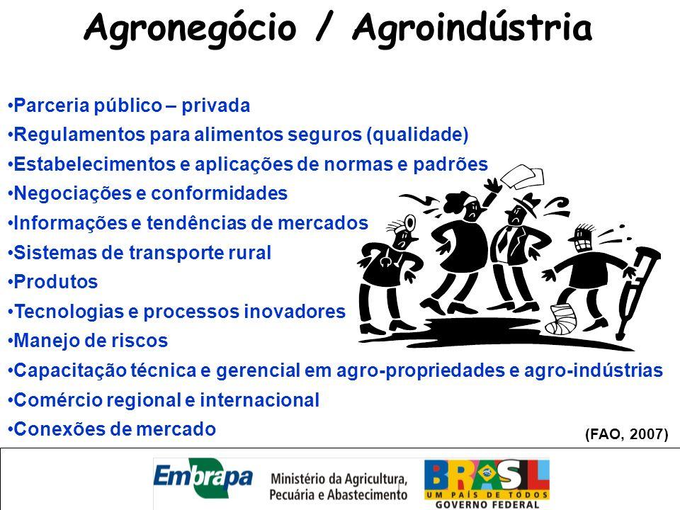 Parceria público – privada Regulamentos para alimentos seguros (qualidade) Estabelecimentos e aplicações de normas e padrões Negociações e conformidad