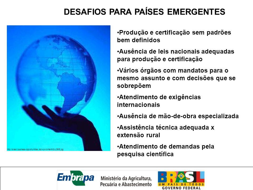 http://brasil.business-opportunities.biz/wp-content/GLOBE.jpg DESAFIOS PARA PAÍSES EMERGENTES Produção e certificação sem padrões bem definidos Ausênc