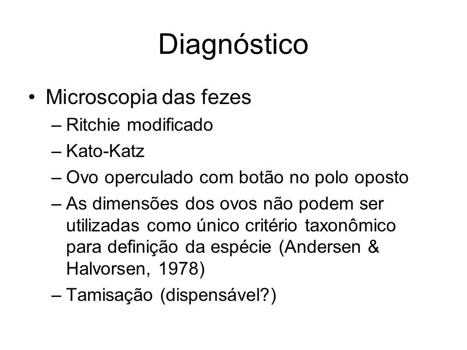 Diagnóstico Microscopia das fezes –Ritchie modificado –Kato-Katz –Ovo operculado com botão no polo oposto –As dimensões dos ovos não podem ser utiliza