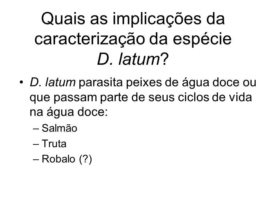 Quais as implicações da caracterização da espécie D. latum? D. latum parasita peixes de água doce ou que passam parte de seus ciclos de vida na água d