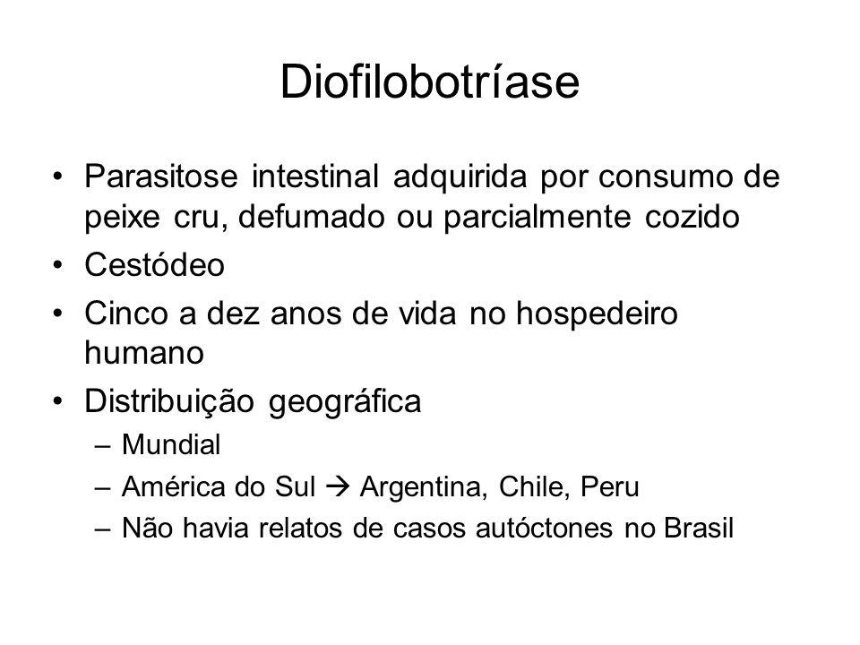 Diofilobotríase Parasitose intestinal adquirida por consumo de peixe cru, defumado ou parcialmente cozido Cestódeo Cinco a dez anos de vida no hospede