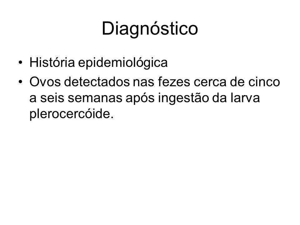 Diagnóstico História epidemiológica Ovos detectados nas fezes cerca de cinco a seis semanas após ingestão da larva plerocercóide.