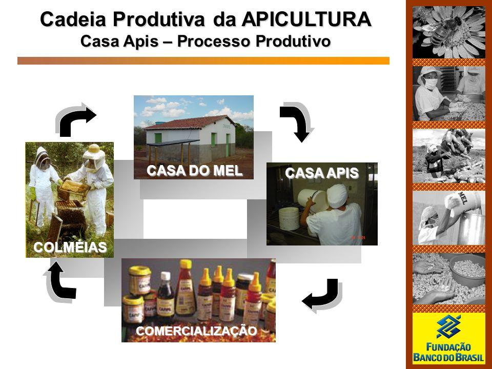 Cadeia Produtiva da APICULTURA Casa Apis – Processo Produtivo COLMÉIAS CASA DO MEL CASA APIS COMERCIALIZAÇÃO