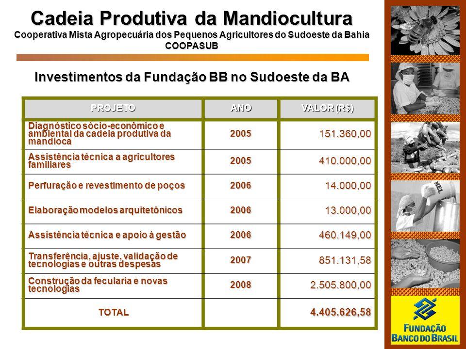 PROJETOANO VALOR (R$) Diagnóstico sócio-econômico e ambiental da cadeia produtiva da mandioca 2005151.360,00 Assistência técnica a agricultores famili