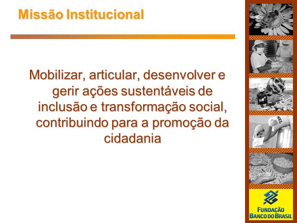 Mobilizar, articular, desenvolver e gerir ações sustentáveis de inclusão e transformação social, contribuindo para a promoção da cidadania Missão Inst