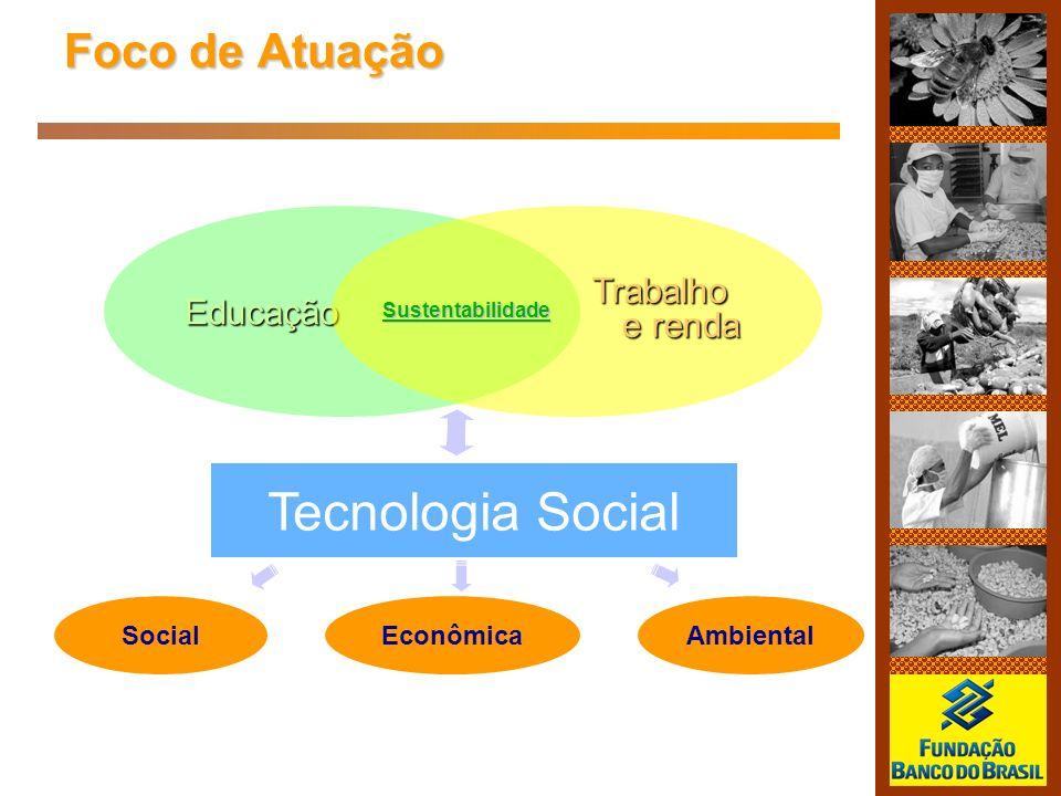 Foco de Atuação EducaçãoTrabalho e renda Tecnologia Social SocialEconômicaAmbiental Sustentabilidade