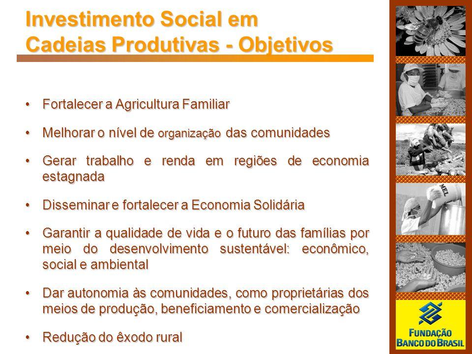 Investimento Social em Cadeias Produtivas - Objetivos Fortalecer a Agricultura FamiliarFortalecer a Agricultura Familiar Melhorar o nível de organizaç