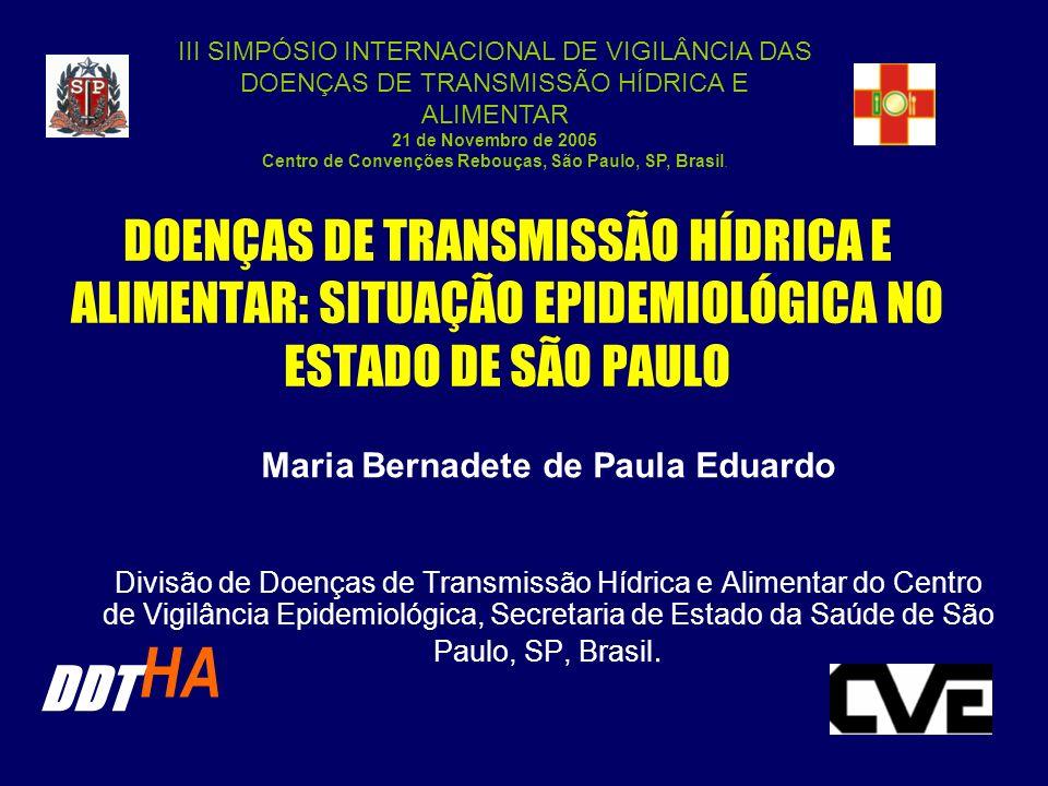 DOENÇAS DE TRANSMISSÃO HÍDRICA E ALIMENTAR: SITUAÇÃO EPIDEMIOLÓGICA NO ESTADO DE SÃO PAULO Maria Bernadete de Paula Eduardo Divisão de Doenças de Tran