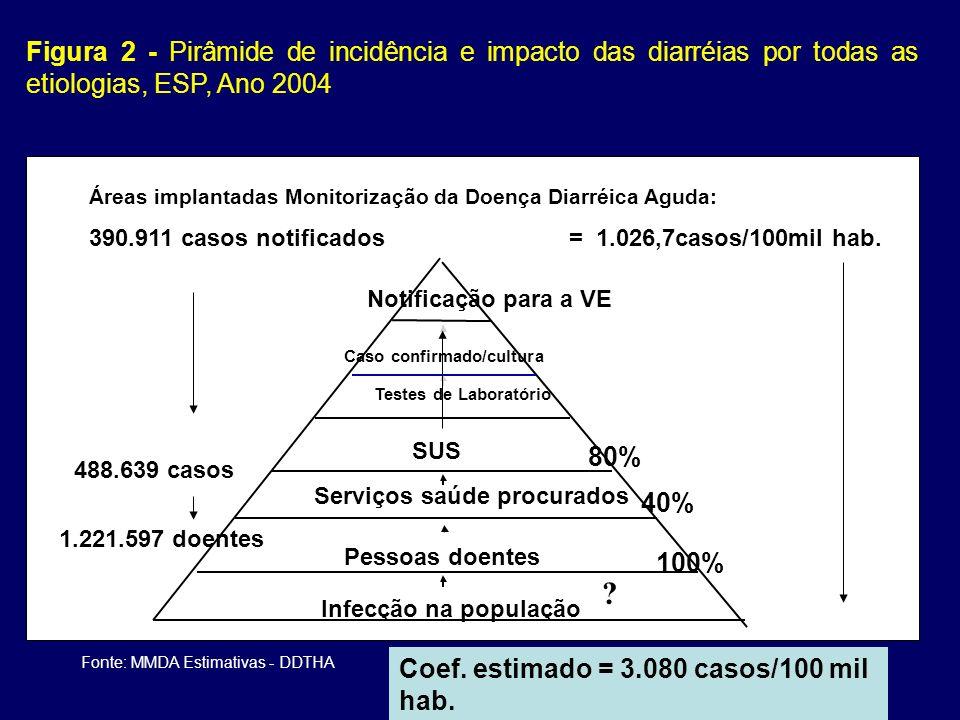 Figura 2 - Pirâmide de incidência e impacto das diarréias por todas as etiologias, ESP, Ano 2004 Coef. estimado = 3.080 casos/100 mil hab. Infecção na