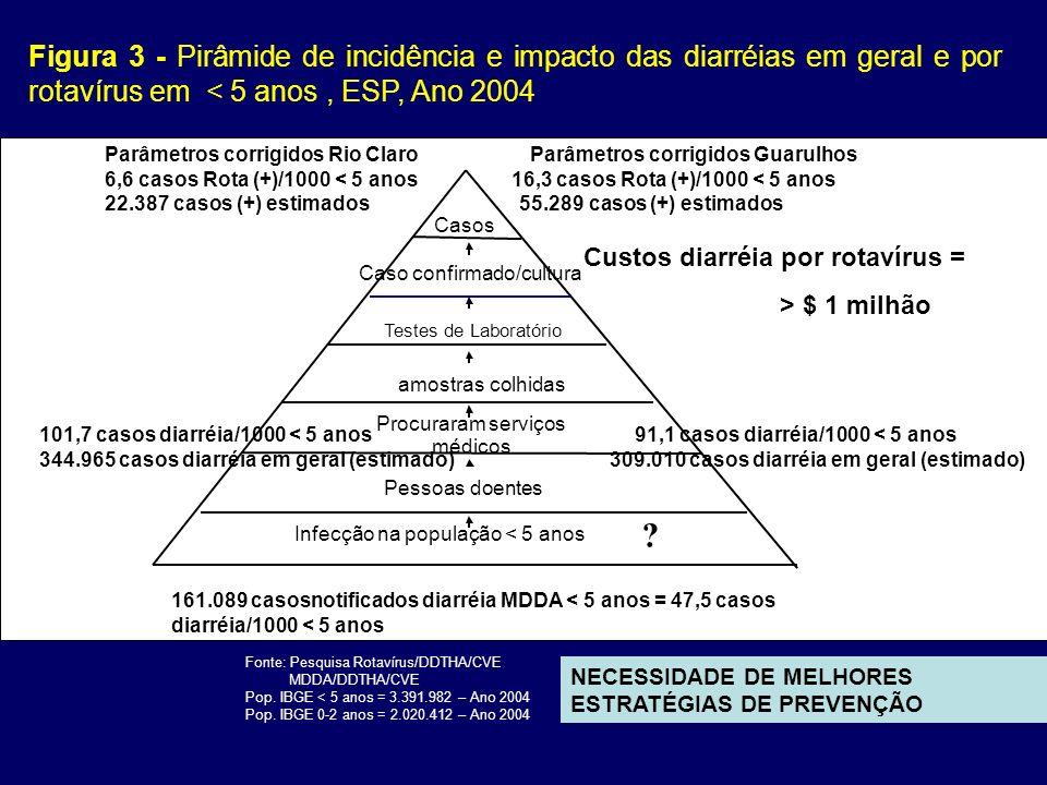 Figura 4 - Percentual de Surtos de DTHA* segundo a etiologia, ESP, 1995- 2004** Fonte: MDDA - DDTHA/CVE (*) Todos os surtos de DTA (Doenças Diarréicas e não diarréicas) NECESSIDADE DE NOTIFICAÇÃO EM TEMPO OPORTUNO E AUMENTAR A COLETA DE AMOSTRAS CLÍNICAS PARA DIAGNÓSTICO ETIOLÓGICO