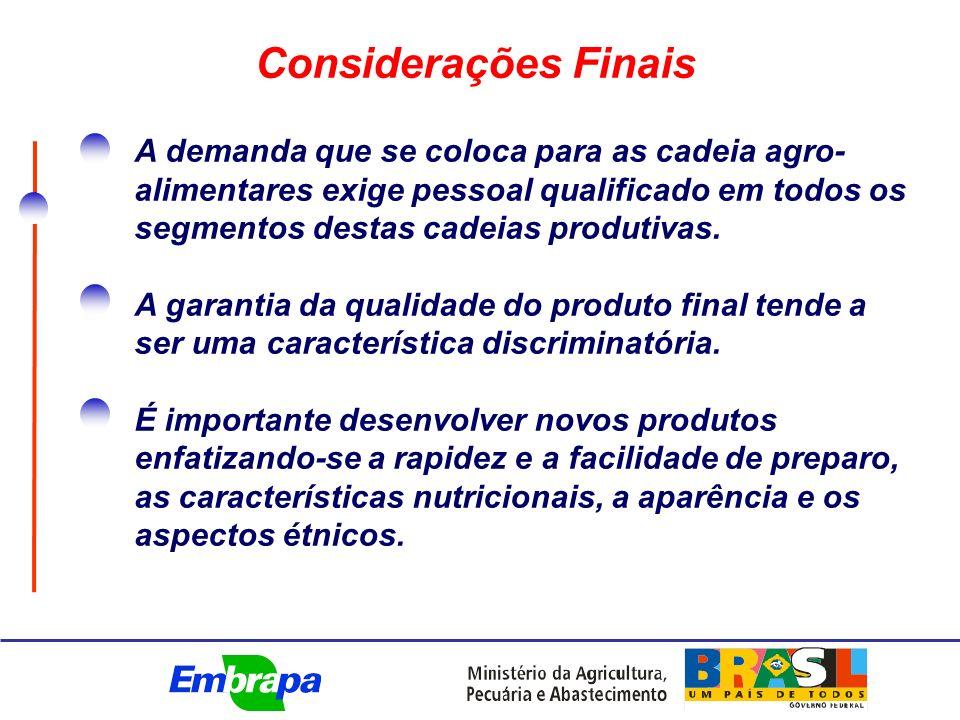 A demanda que se coloca para as cadeia agro- alimentares exige pessoal qualificado em todos os segmentos destas cadeias produtivas.