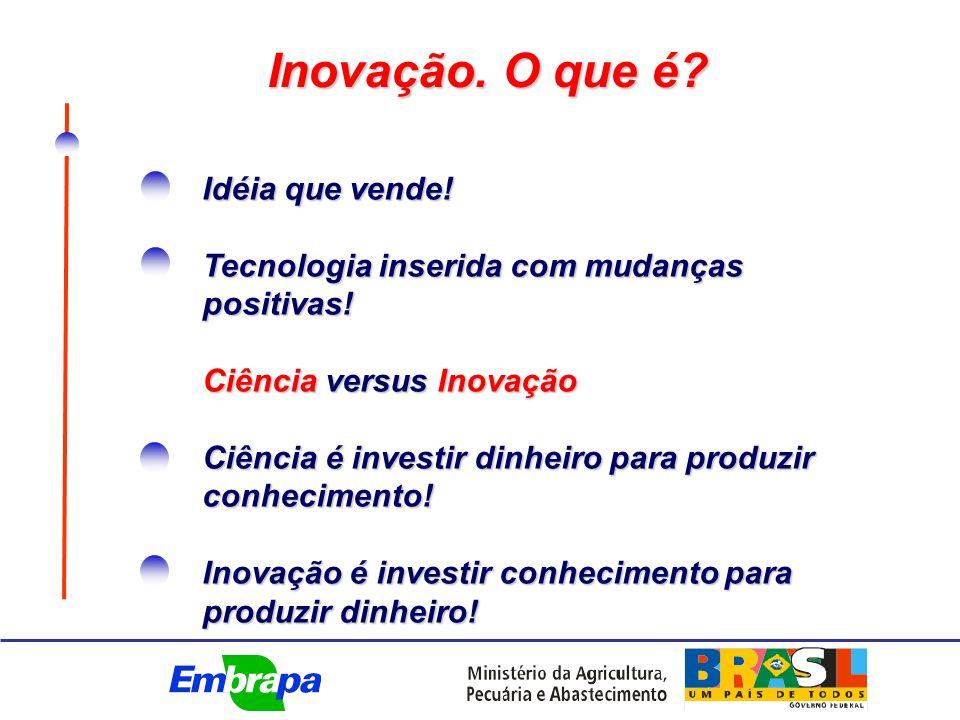Inovação.O que é. Idéia que vende. Tecnologia inserida com mudanças positivas.