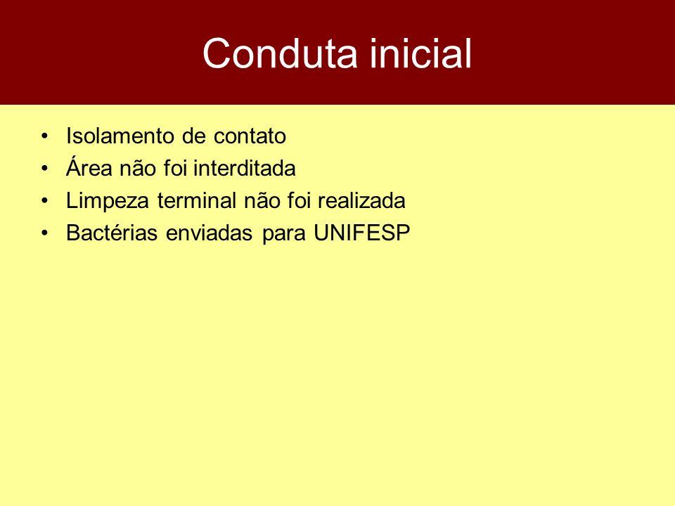 Conduta inicial Isolamento de contato Área não foi interditada Limpeza terminal não foi realizada Bactérias enviadas para UNIFESP