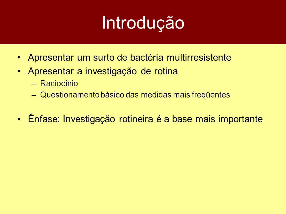 Introdução Apresentar um surto de bactéria multirresistente Apresentar a investigação de rotina –Raciocínio –Questionamento básico das medidas mais fr