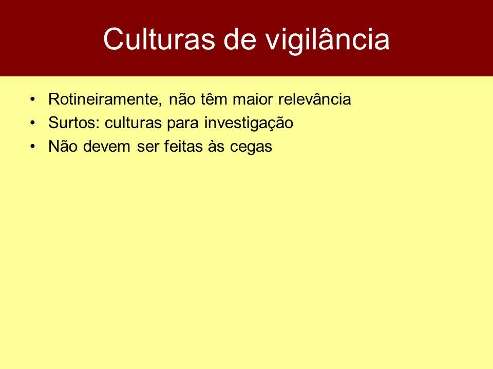 Culturas de vigilância Rotineiramente, não têm maior relevância Surtos: culturas para investigação Não devem ser feitas às cegas