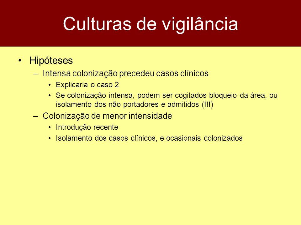 Culturas de vigilância Hipóteses –Intensa colonização precedeu casos clínicos Explicaria o caso 2 Se colonização intensa, podem ser cogitados bloqueio