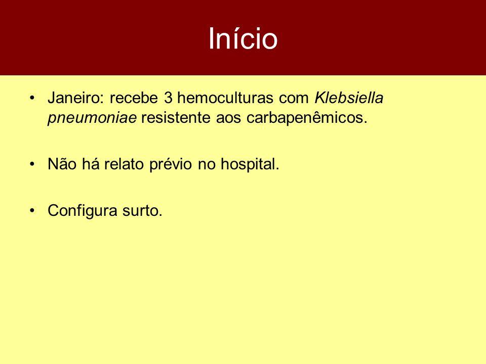 MLH 44a, F, Hipertiroidismo + pneumonia UTI 06/12 Entubada, CVC, Sonda Ceftriaxona, PipTazo, Claritromicina, Vancomicina, Imipenem, Fluconazol 15/12: K.pneumoniae no sangue, S 22/12: K.pneumoniae na urina, S 25/12: K.pneumoniae no cateter, S (?) 25/12: K.pneumoniae no sangue, CBP-R 1/1: Óbito, em uso de Vanco + imipenem + fluconazol