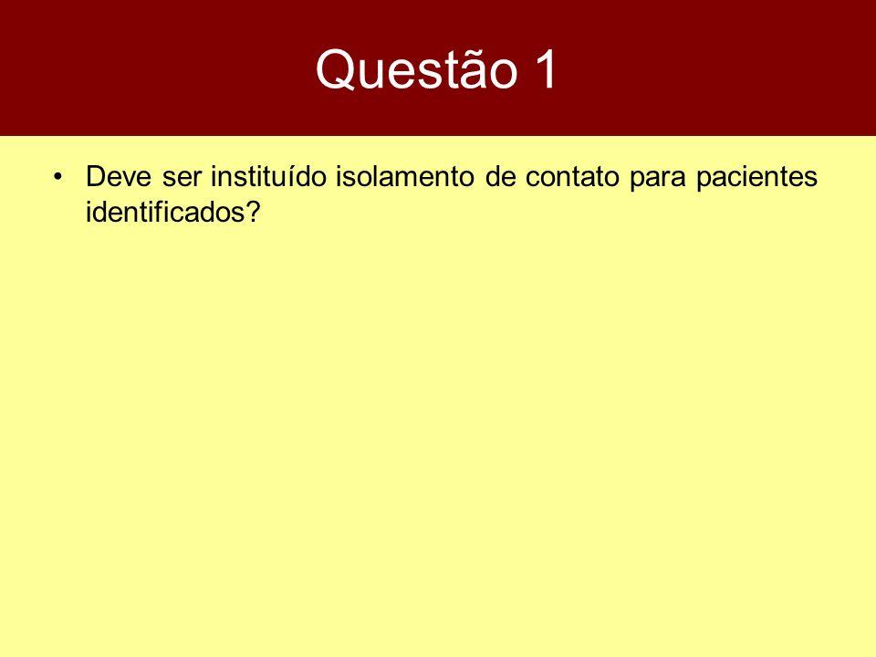 Questão 1 Deve ser instituído isolamento de contato para pacientes identificados?