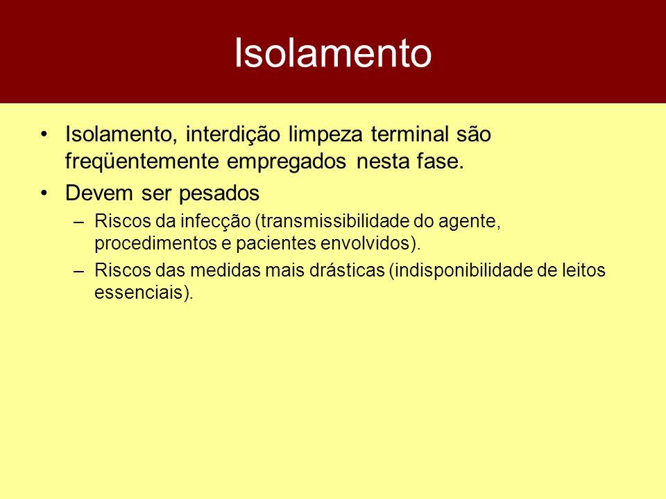Isolamento Isolamento, interdição limpeza terminal são freqüentemente empregados nesta fase. Devem ser pesados –Riscos da infecção (transmissibilidade
