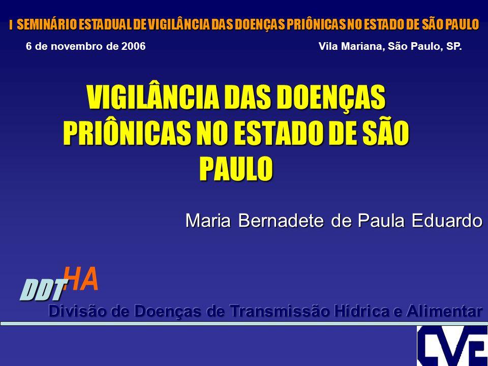VIGILÂNCIA DAS DOENÇAS PRIÔNICAS NO ESTADO DE SÃO PAULO Maria Bernadete de Paula Eduardo HA DDT I SEMINÁRIO ESTADUAL DE VIGILÂNCIA DAS DOENÇAS PRIÔNIC
