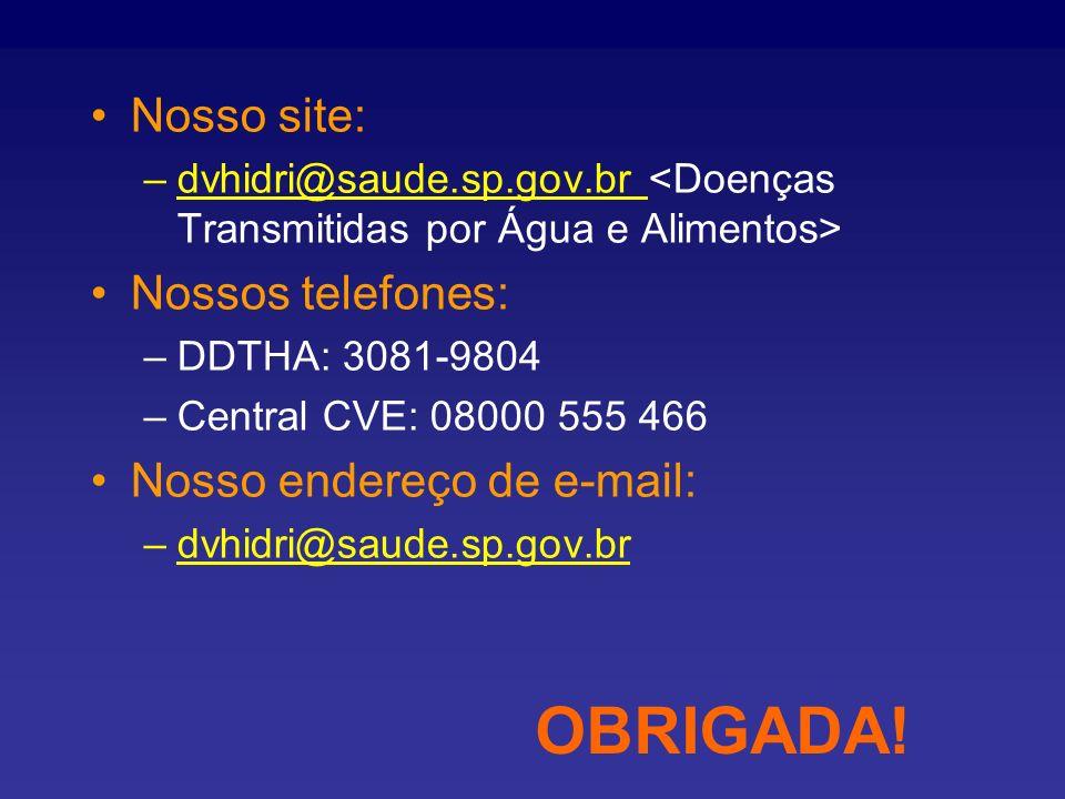Nosso site: –dvhidri@saude.sp.gov.br Nossos telefones: –DDTHA: 3081-9804 –Central CVE: 08000 555 466 Nosso endereço de e-mail: –dvhidri@saude.sp.gov.b