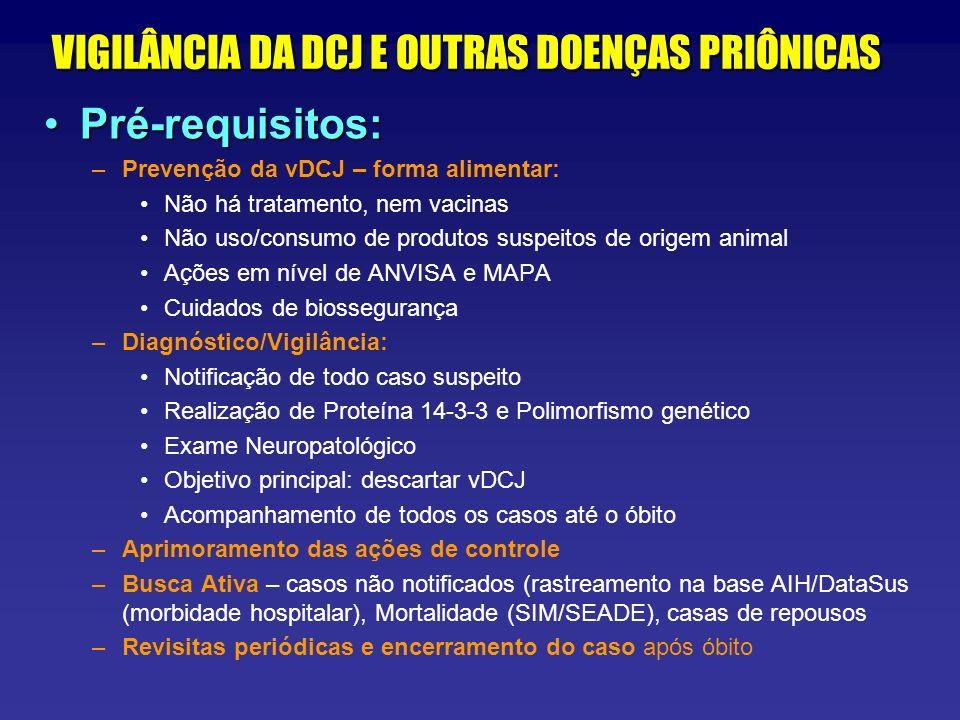 VIGILÂNCIA DA DCJ E OUTRAS DOENÇAS PRIÔNICAS Pré-requisitos:Pré-requisitos: –Prevenção da vDCJ – forma alimentar: Não há tratamento, nem vacinas Não u