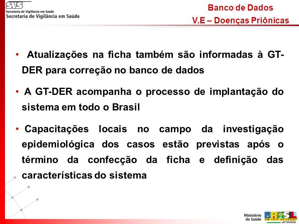 Banco de Dados V.E – Doenças Priônicas Atualizações na ficha também são informadas à GT- DER para correção no banco de dados A GT-DER acompanha o processo de implantação do sistema em todo o Brasil Capacitações locais no campo da investigação epidemiológica dos casos estão previstas após o término da confecção da ficha e definição das características do sistema