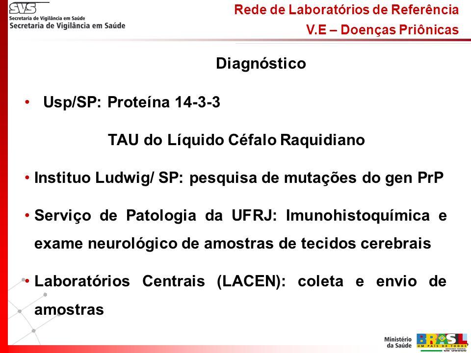 Rede de Laboratórios de Referência V.E – Doenças Priônicas Usp/SP: Proteína 14-3-3 TAU do Líquido Céfalo Raquidiano Instituo Ludwig/ SP: pesquisa de mutações do gen PrP Serviço de Patologia da UFRJ: Imunohistoquímica e exame neurológico de amostras de tecidos cerebrais Laboratórios Centrais (LACEN): coleta e envio de amostras Diagnóstico