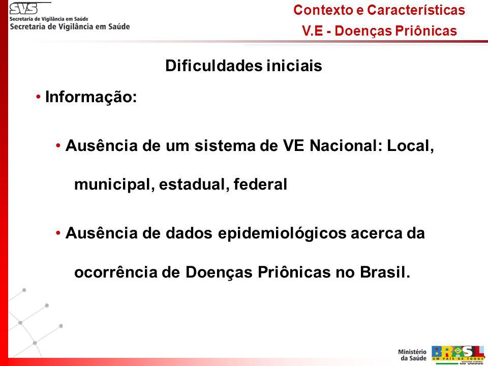 Contexto e Características V.E - Doenças Priônicas Diagnóstico: Clínico: Desconhecimento das formas clínicas da DCJ – dificuldades na suspeita de casos novos Laboratorial: Não existe rede de laboratórios de referência para as Doenças Priônicas no Brasil Epidemiológico: Foco na suspeita nvDCJ Dificuldades Iniciais