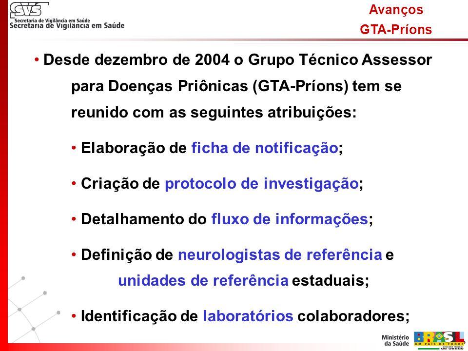 Avanços GTA-Príons Desde dezembro de 2004 o Grupo Técnico Assessor para Doenças Priônicas (GTA-Príons) tem se reunido com as seguintes atribuições: Elaboração de ficha de notificação; Criação de protocolo de investigação; Detalhamento do fluxo de informações; Definição de neurologistas de referência e unidades de referência estaduais; Identificação de laboratórios colaboradores;