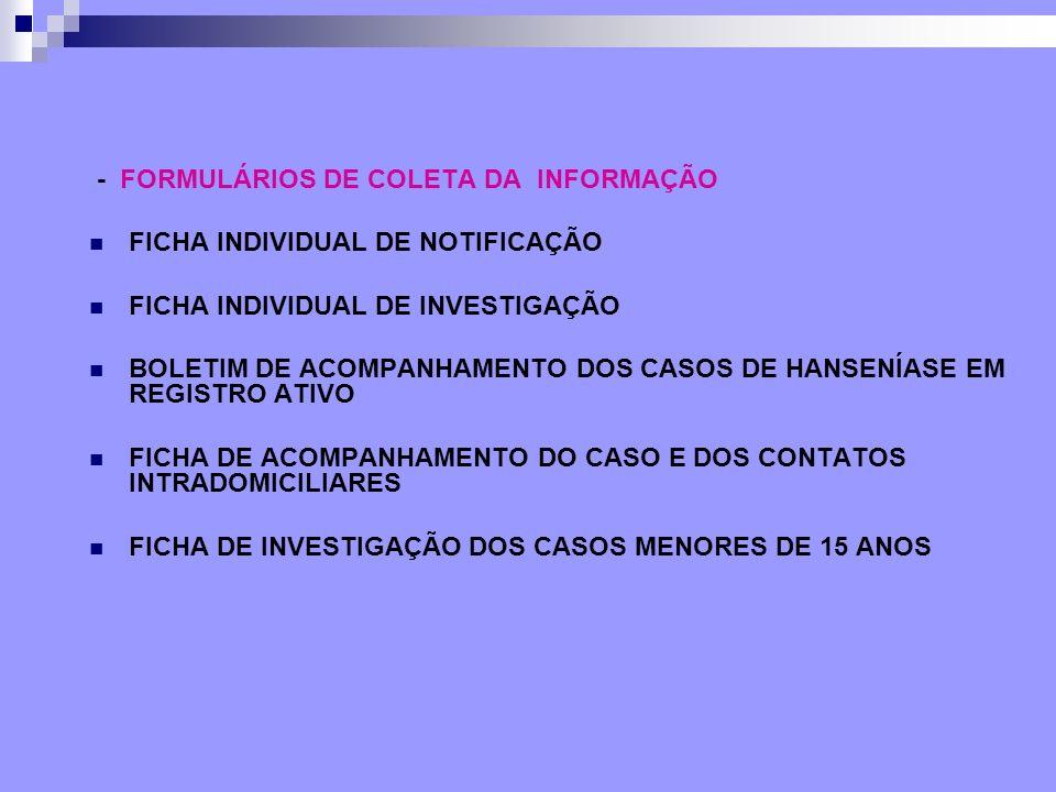 - FORMULÁRIOS DE COLETA DA INFORMAÇÃO FICHA INDIVIDUAL DE NOTIFICAÇÃO FICHA INDIVIDUAL DE INVESTIGAÇÃO BOLETIM DE ACOMPANHAMENTO DOS CASOS DE HANSENÍA