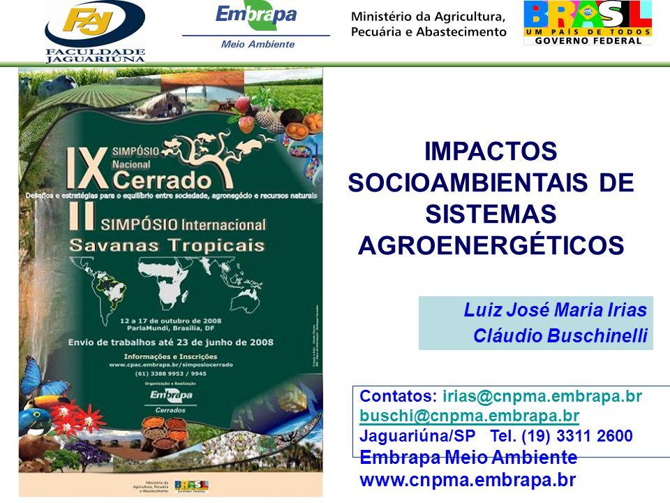 Luiz José Maria Irias Cláudio Buschinelli IMPACTOS SOCIOAMBIENTAIS DE SISTEMAS AGROENERGÉTICOS Contatos: irias@cnpma.embrapa.br buschi@cnpma.embrapa.b