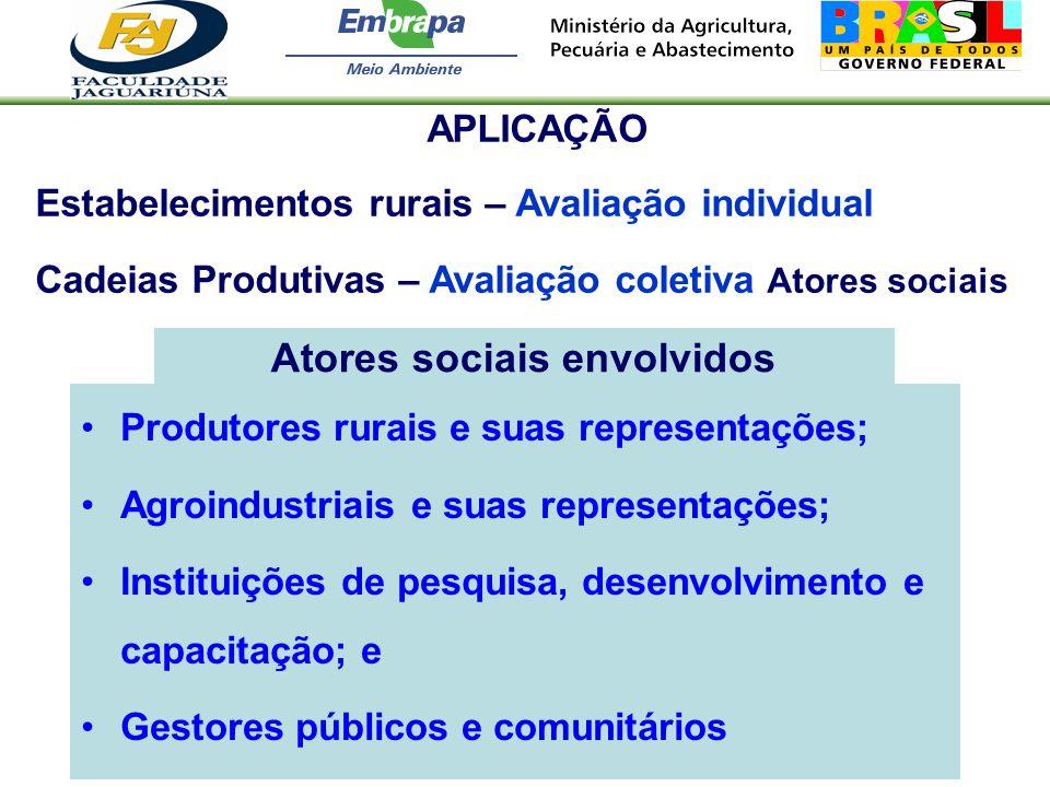 Atores sociais envolvidos Produtores rurais e suas representações; Agroindustriais e suas representações; Instituições de pesquisa, desenvolvimento e
