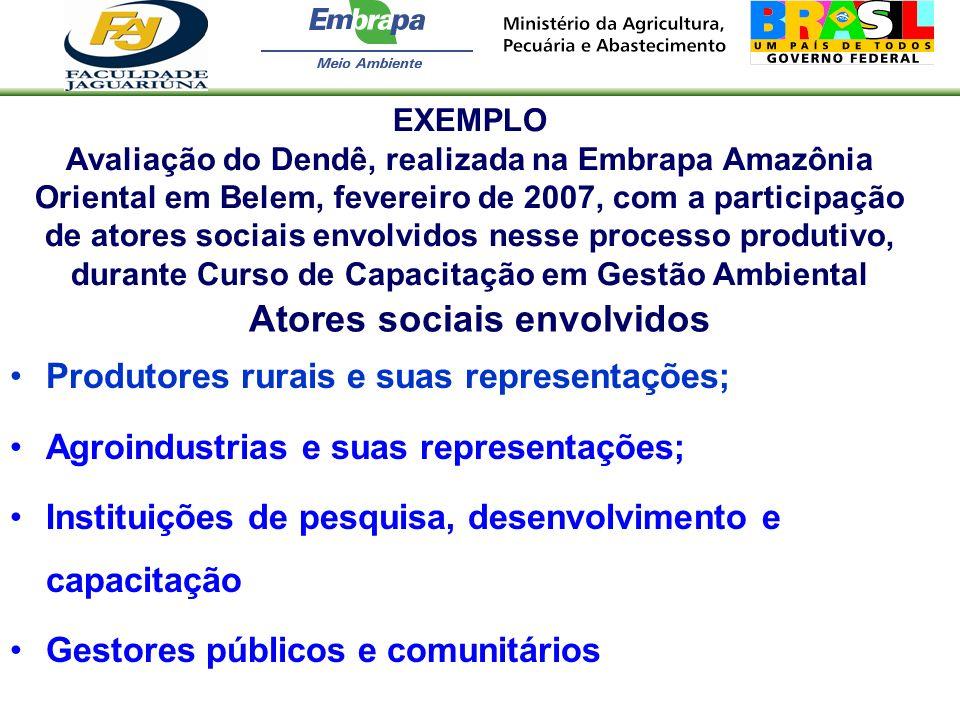 Atores sociais envolvidos Produtores rurais e suas representações; Agroindustrias e suas representações; Instituições de pesquisa, desenvolvimento e c