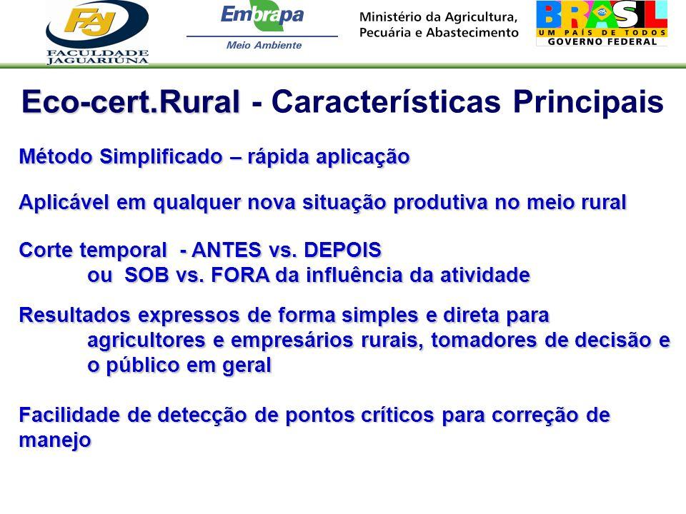 Eco-cert.Rural Eco-cert.Rural - Características Principais Método Simplificado – rápida aplicação Aplicável em qualquer nova situação produtiva no mei