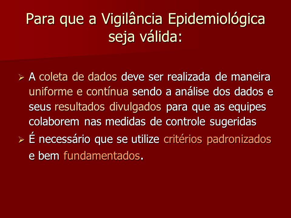 Para que a Vigilância Epidemiológica seja válida: A coleta de dados deve ser realizada de maneira uniforme e contínua sendo a análise dos dados e seus