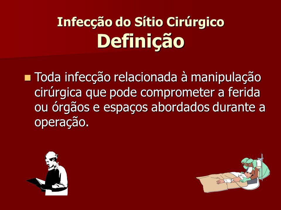 Infecção do Sítio Cirúrgico Definição Toda infecção relacionada à manipulação cirúrgica que pode comprometer a ferida ou órgãos e espaços abordados du