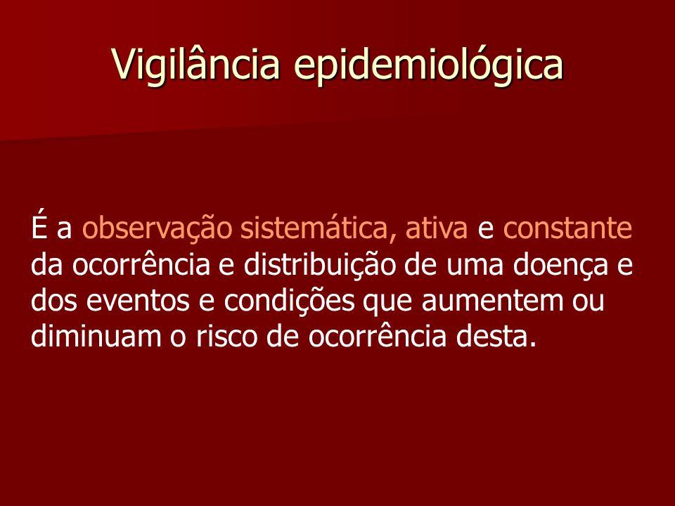 Vigilância epidemiológica É a observação sistemática, ativa e constante da ocorrência e distribuição de uma doença e dos eventos e condições que aumen