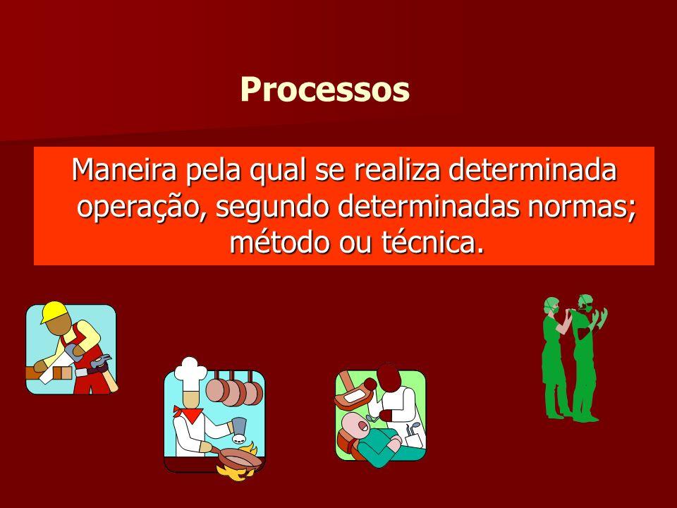 Processos Maneira pela qual se realiza determinada operação, segundo determinadas normas; método ou técnica.