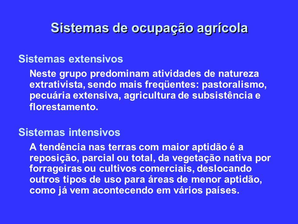 Sistemas de ocupação agrícola Sistemas extensivos Neste grupo predominam atividades de natureza extrativista, sendo mais freqüentes: pastoralismo, pec