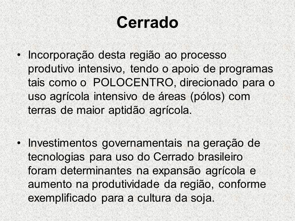 Cerrado Incorporação desta região ao processo produtivo intensivo, tendo o apoio de programas tais como o POLOCENTRO, direcionado para o uso agrícola