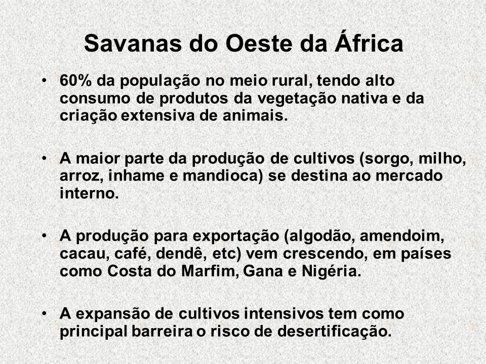 Savanas do Oeste da África 60% da população no meio rural, tendo alto consumo de produtos da vegetação nativa e da criação extensiva de animais. A mai