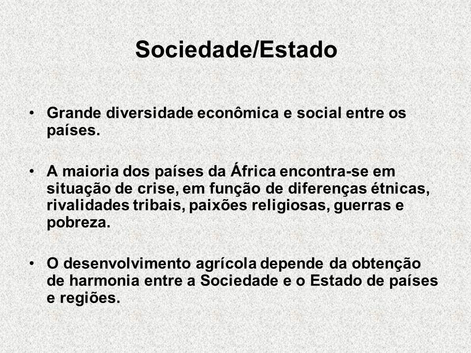 Sociedade/Estado Grande diversidade econômica e social entre os países. A maioria dos países da África encontra-se em situação de crise, em função de