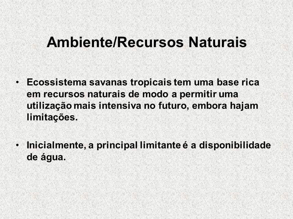 Ambiente/Recursos Naturais Ecossistema savanas tropicais tem uma base rica em recursos naturais de modo a permitir uma utilização mais intensiva no fu